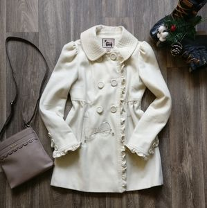 White Ruffle Trench Coat